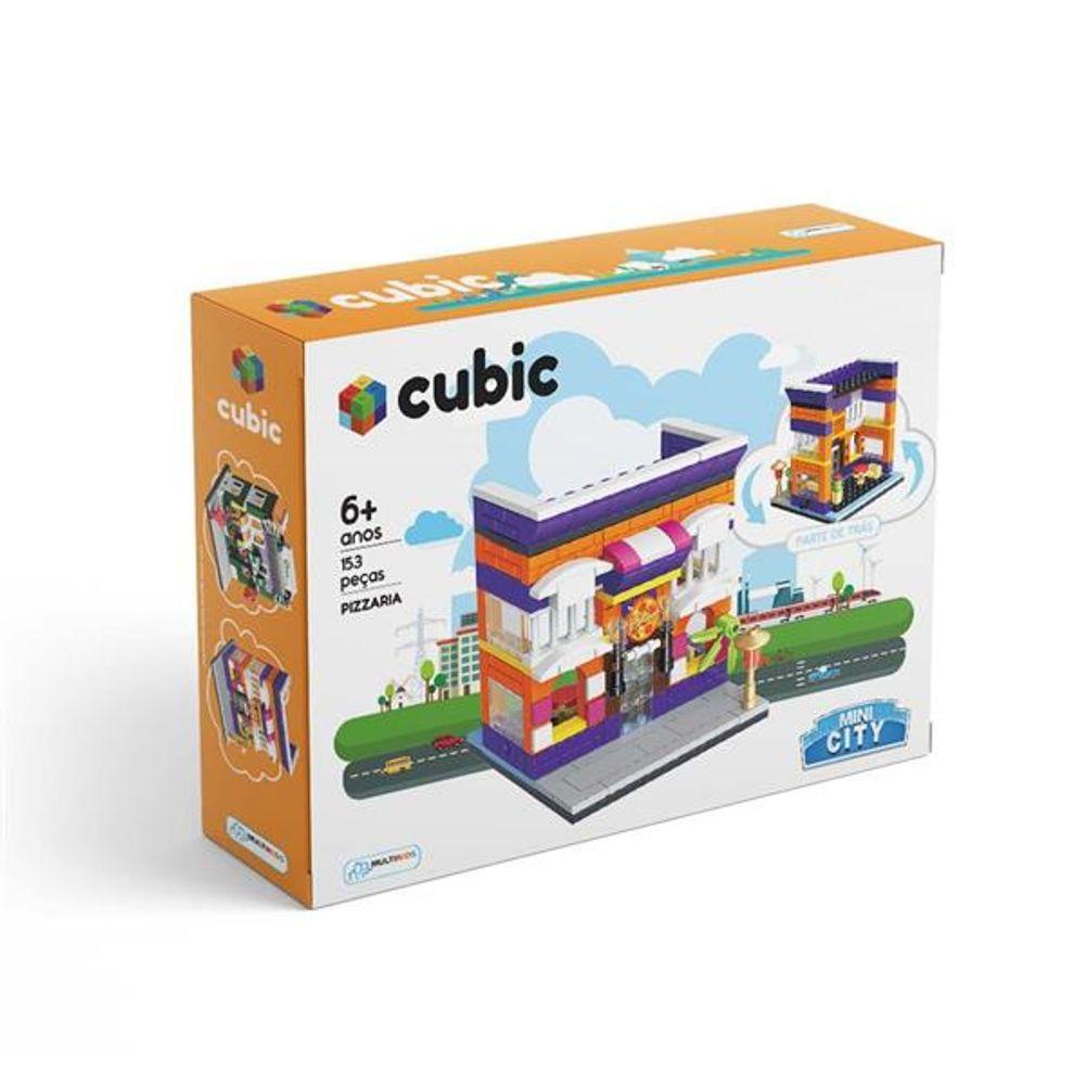 Blocos De Montar Cubic Mini City Modelo Pizzaria Com 153 Peças Indicado Para 6 Anos Multikids Br1102