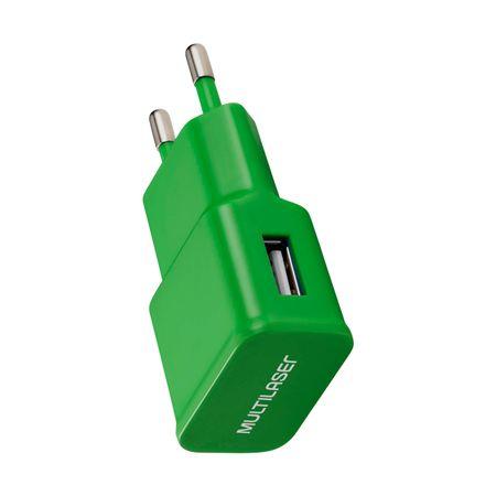 Carregador de Parede Smartogo Bivolt com Entrada USB Verde Multilaser - CB080V