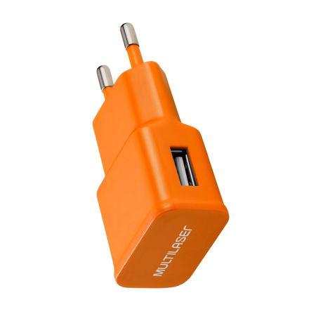 Carregador de Parede Smartogo Bivolt com Entrada USB Laranja Multilaser - CB080L